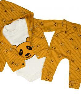 komplet miodowy dla noworodka wyprawka bluza body spodnie