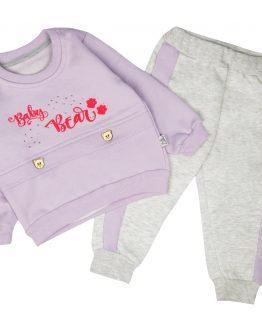 ocieplany komplet dla dziewczynki bluza i spodnie dres z meszkiem