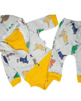 komplet niemowlęcy bluza spodnie body szaro-miodowy w dinozaury