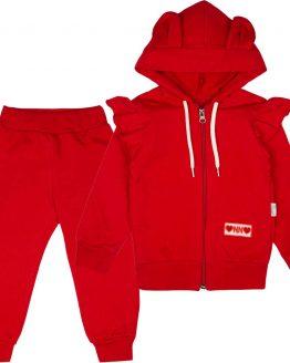 czerwony dres z falbankami u uszami komplet dresowy dla dziewczynki czerwony