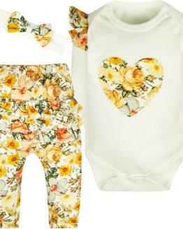 komplet niemowlęcy dla dziewczynki z falbankami na pupie jesienne kwiaty