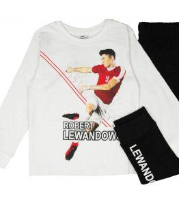 piżama robert lewandowski biało-czerna z nadrukiem bawełniana