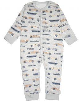 szary rampers pajacyk bez stóp dla niemowlaka piżamka rozpinana w auta retro