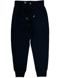 czarne spodnie z meszkiem z regulacją w pasie i kieszeniami dla dziecka