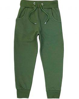 khaki spodnie z meszkiem z regulacją w pasie i kieszeniami dla dziecka