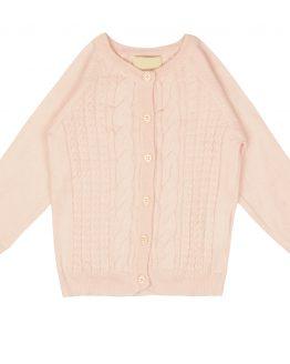 jasnoróżowy sweterek kardigan rozpinany bawełniany dla dziewczynki
